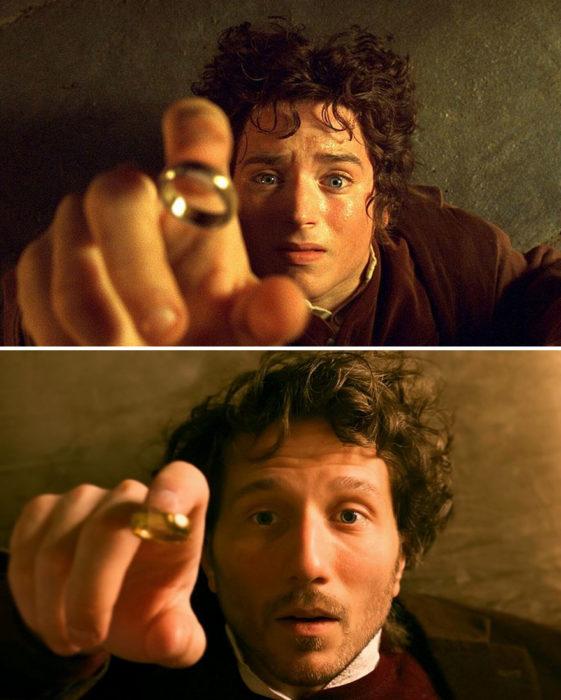 Chico recreando escena de la película El Hobbit con un anillo de fantasía