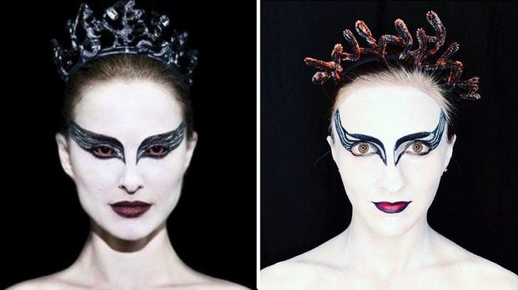 Chica recreando a Natalie Portman en la película El cisne