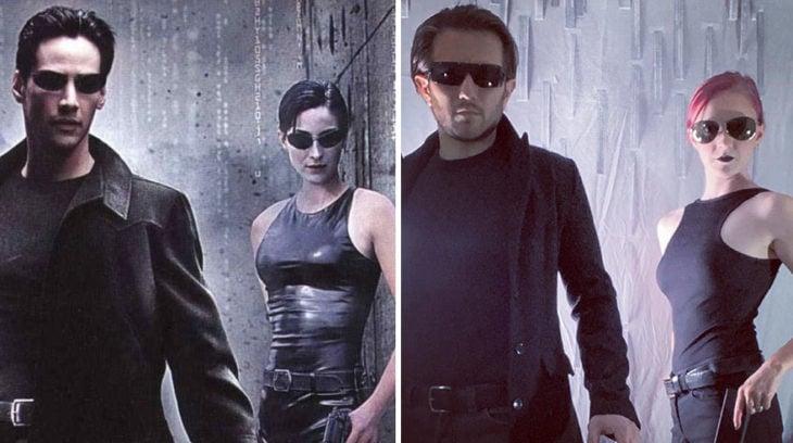 Pareja recrea poster oficial de la película Matrix