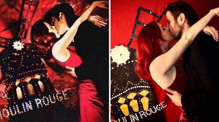 Pareja recrea escena de la película Moulin Rouge usando sabanas rojas y papel lustre