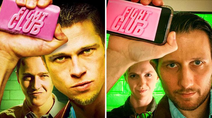 Pareja recrea escena de la película El club de la pelea usando sabanas verdes y un celular