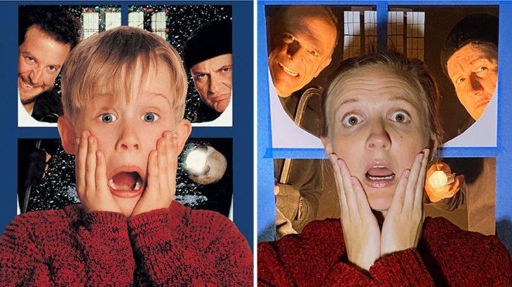 chica recrea escena de la película Home Alone llevando un suéter rojo