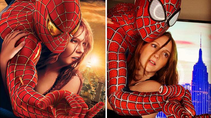 Pareja recreando una escena de la película Spider-Man abrazados