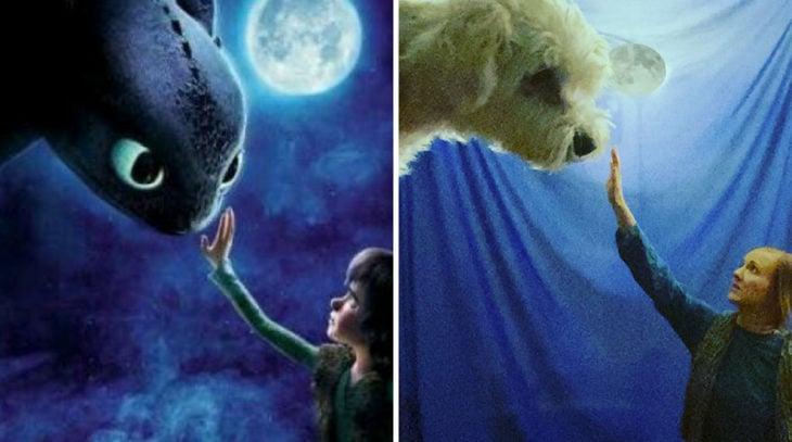 Pareja recreando una escena de la película Como entrenar a tu dragón, utilizando un perro y sabanas azules