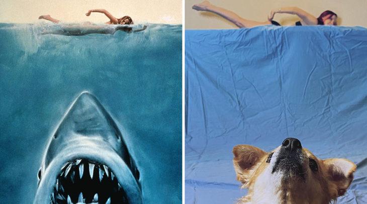 Pareja recreando una escena de la película Tiburón con ayuda de una sabana azul y un perro corgi