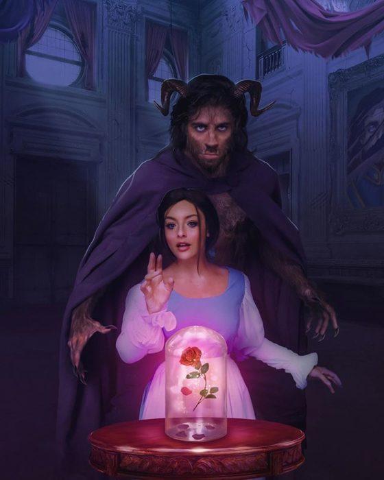 Pareja recreando escena de la película de La bella y la bestia