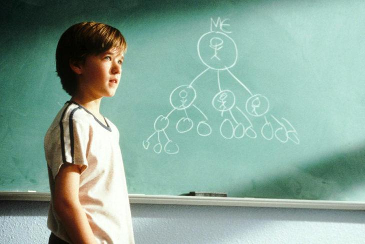 Escena de la película Cadena de favores en la que se muestra a un niño frente a un pizarrón escribiendo