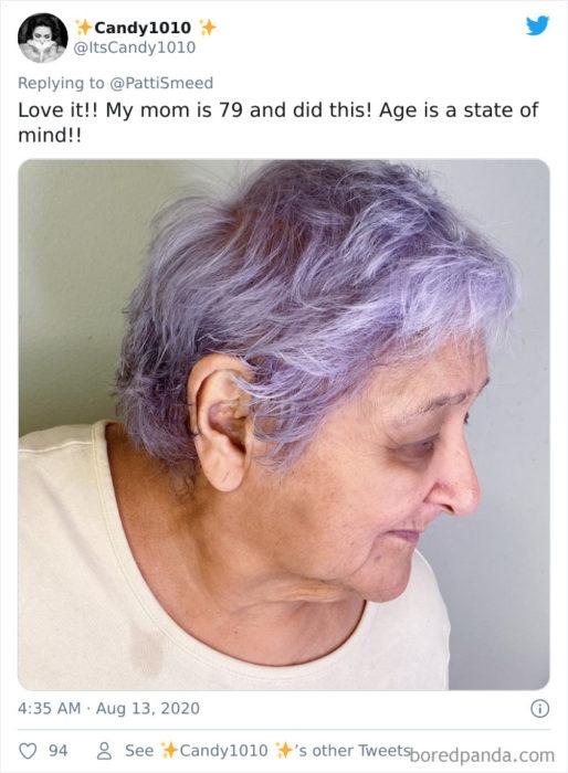Personas mayores comparten su cambio de look en colores llamativos