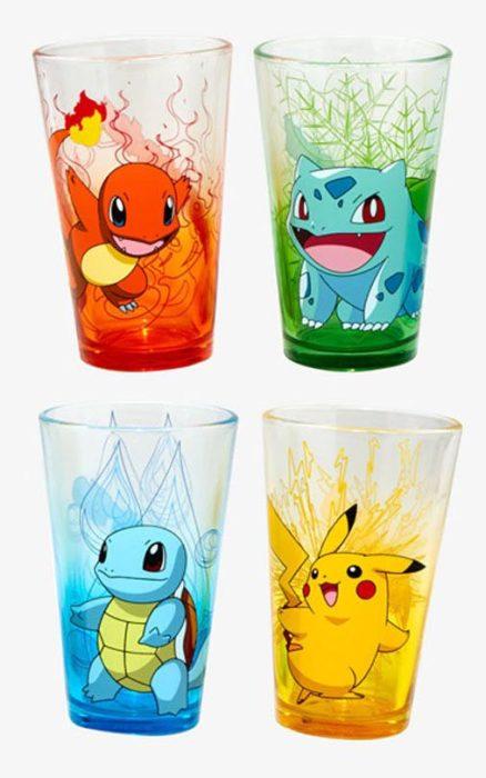 Vasos de cristal con dibujos de pokemon