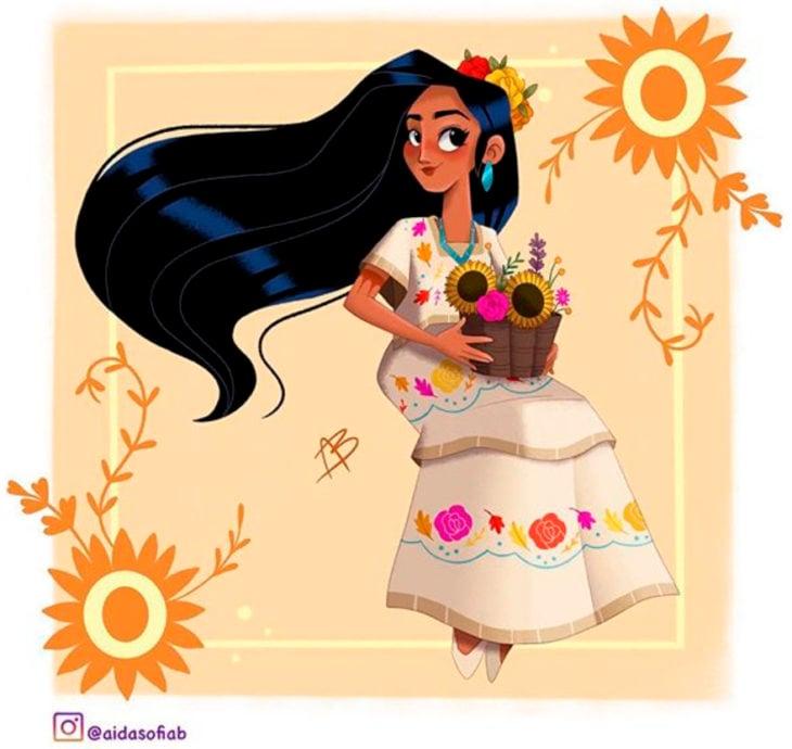 Ilustración de Aida Sofia Barba de Pocahontas usando el traje típico del estado de Yucatán
