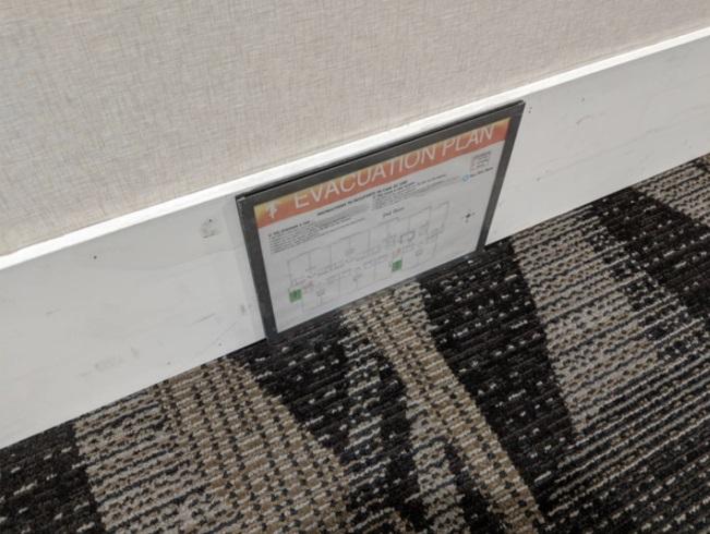 Zona de evacuación en el piso