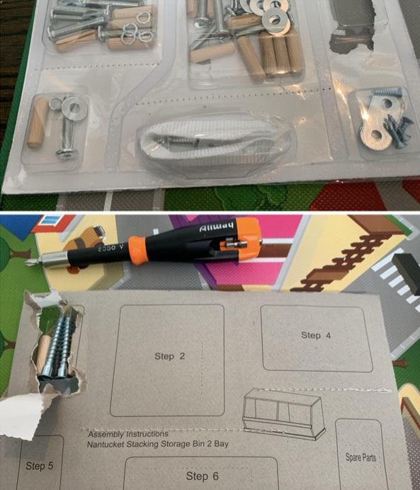 Caja de herramientas con pasos e instrucciones