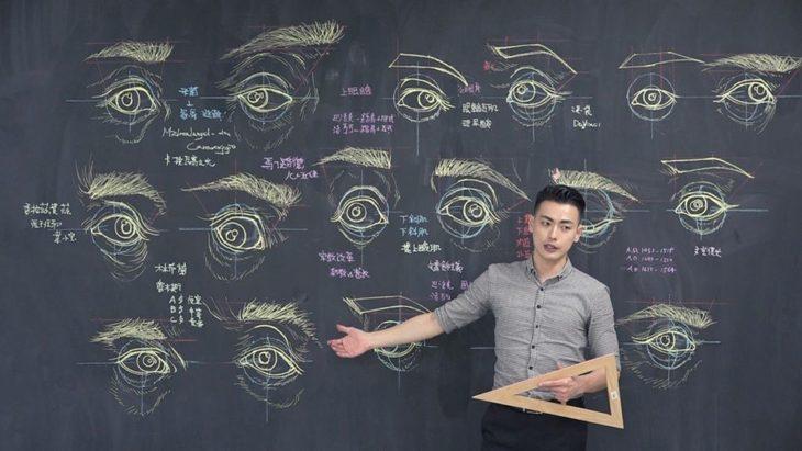 Chuan-Bin Chung, ilustrador y profesor de anatomía, dibujando un ojo humano en la pizarra
