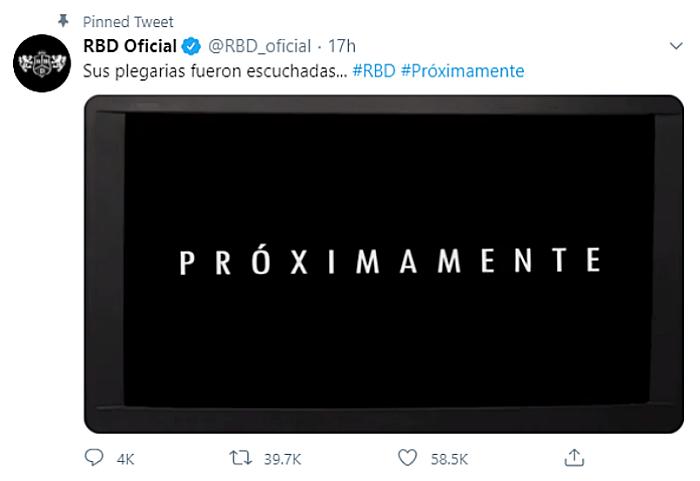 mensaje de RBD en twitter