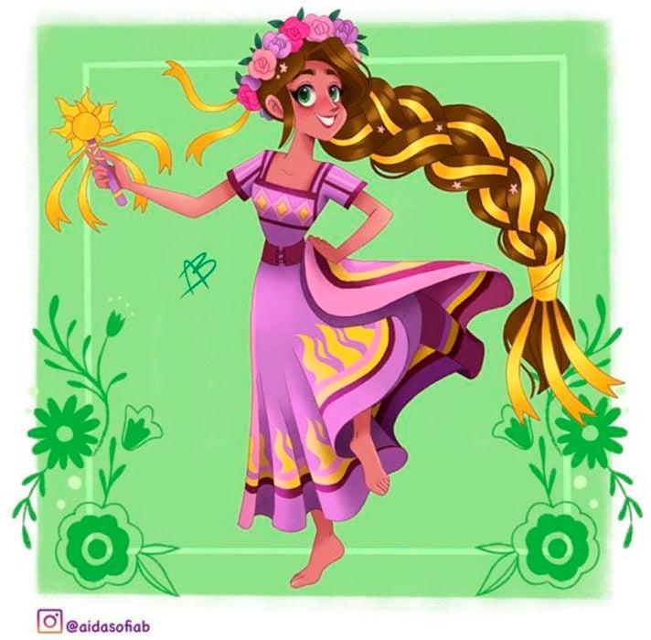 Ilustración de Aida Sofia Barba de la princesa Rapunzel usando el traje típico del estado de Michoacán