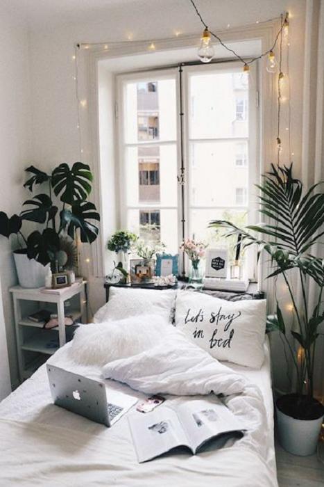 Organización de habitación pequeña con estilo de colores blanco y detalles de plantas