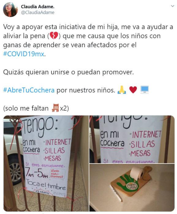 Tuit de Claudia dando a conocer la iniciativa de #AbreTuCochera