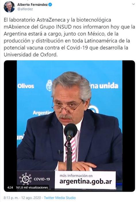 Captura de pantalla de tuit del presidente de Argetina, Alberto Fernández en el que informa sobre la vacuna contra Covid-19