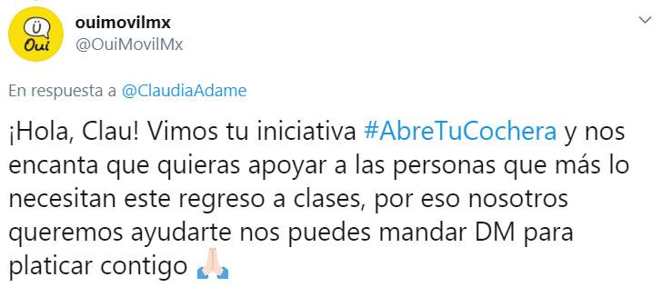 Screen shot de felicitación a Claudia por la iniciativa de #AbreTuCochera