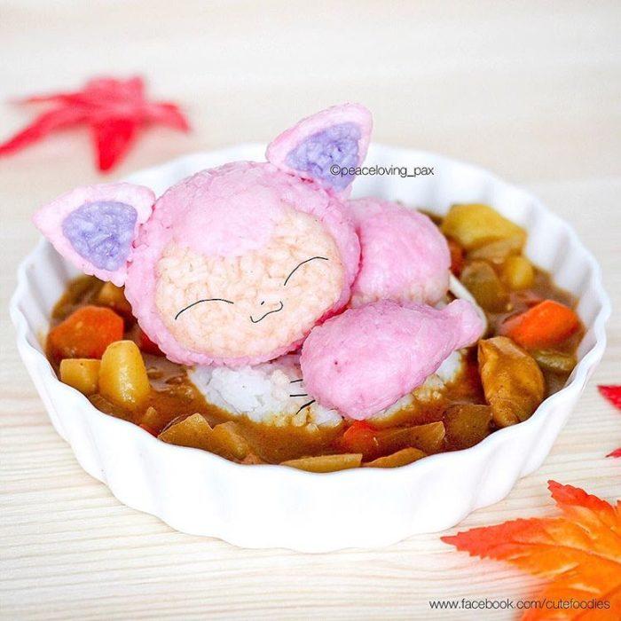 Platillo de comida inspirado en el pokémon Skitty
