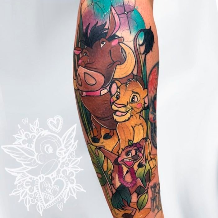 Hannah Mai tattoo inspired by Timon and Pumbaa from The Lion King