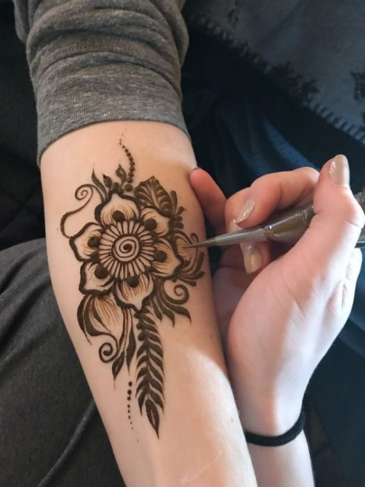 Flower Henna Tattoo on Right Arm