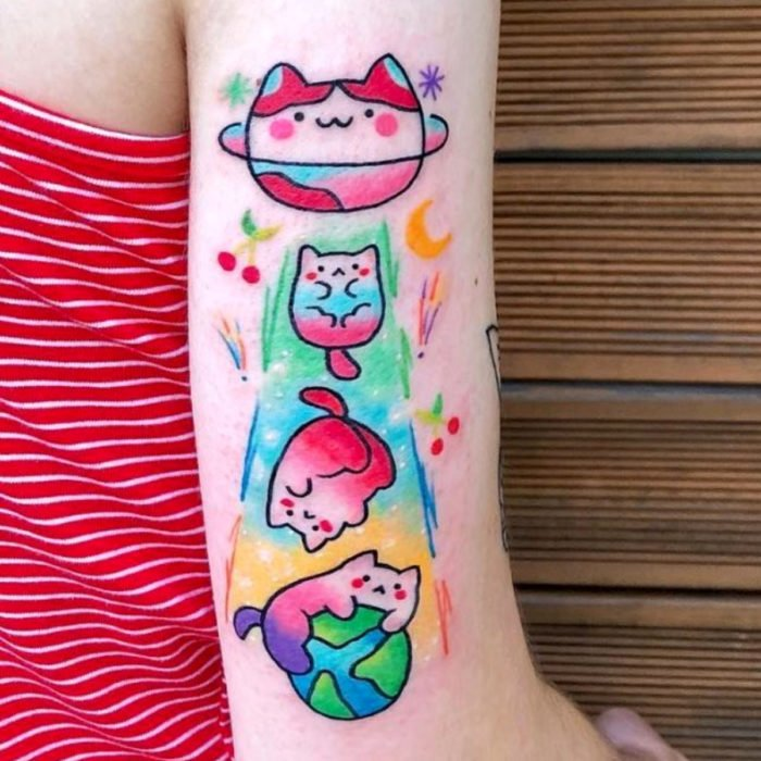 Cute kawaii cat in space tattoo