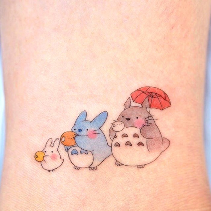 Cute kawaii My Neighbor Totoro tattoo from Studio Ghibli
