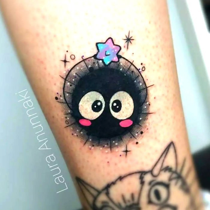 Tender kawaii tattoo on the arm of Susuwatari, Studio Ghibli, Laura Anunnaki
