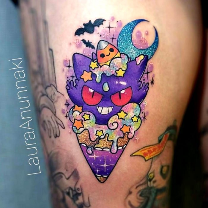 Tender kawaii tattoo on leg, pretty Haunter in ice cream, Laura Anunnaki