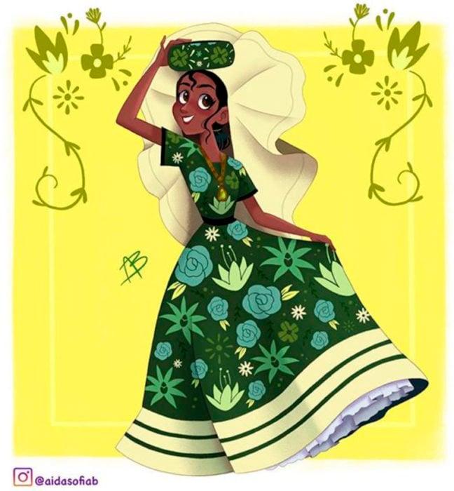 Ilustración de Aida Sofia Barba de la princesa Tiana usando el traje típico del estado de Oaxaca