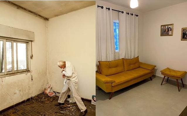 Vecinos renuevan casa de anciano