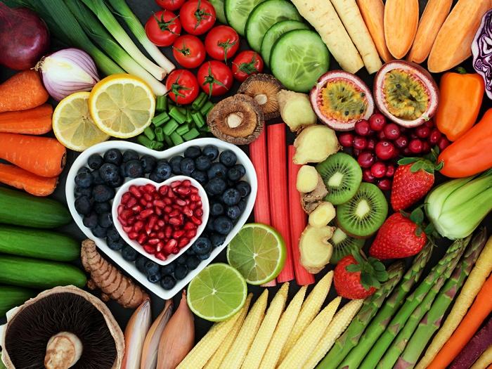 foto de diferentes frutas y verduras