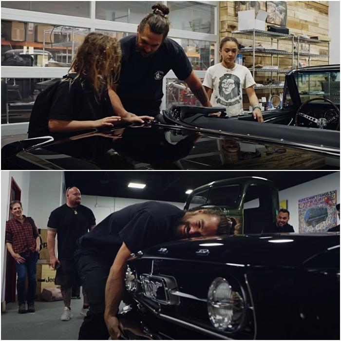 jason momoa restaura el primer auto de su esposa lisa bonet