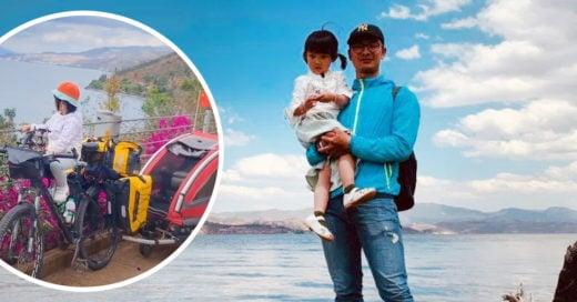 Hombre chino y su pequeña hija recorren 4 mil km en bicicleta