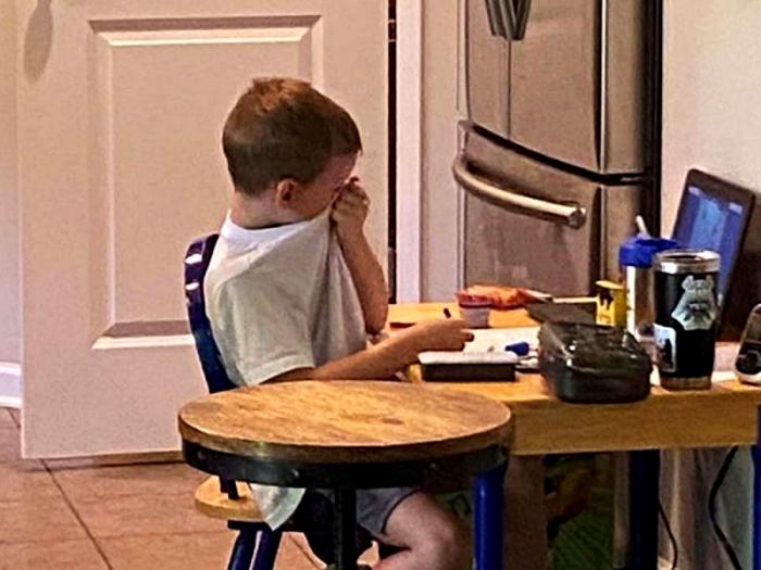 pequeño niño llora desesperado durante clase en línea