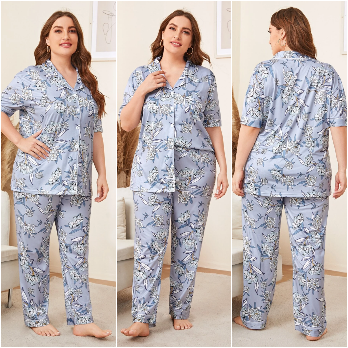 curvy girl wearing blue gray flower print pajamas with short sleeve button down shirt and straight pants
