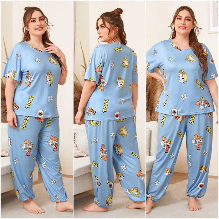 girl with long brown hair wearing light blue pajamas with colorful print