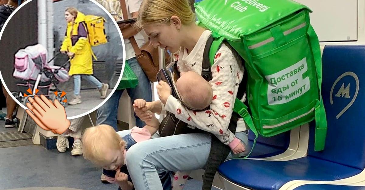 Repartidora de comida lleva a sus hijas con ella mientras trabaja y se hace viral