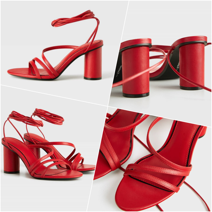 sandalias de tacón color rojo intenso con punta ovalada