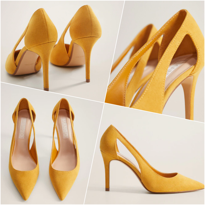 zapatos de tacón amarillos con punta de pico y abertura de lado