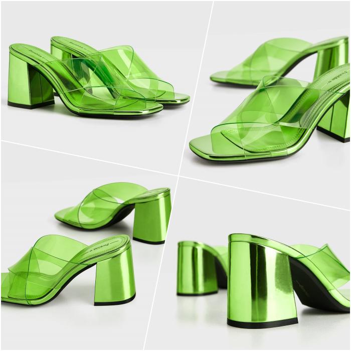 Shiny Neon Green Metallic Square Toe Heeled Sandals