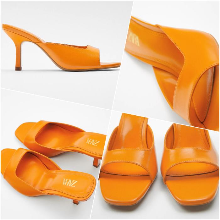 Square Toe Thin Heel Orange Heeled Sandals