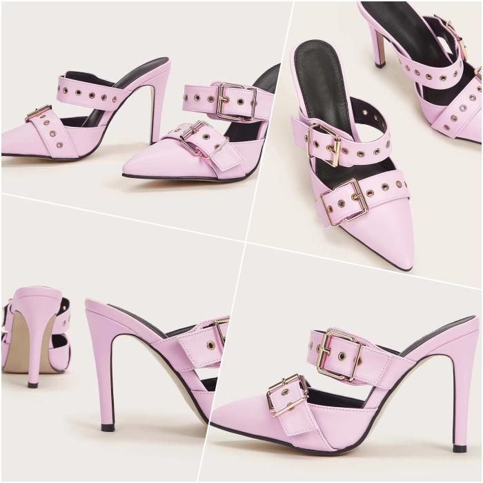 light pink buckle detail pumps