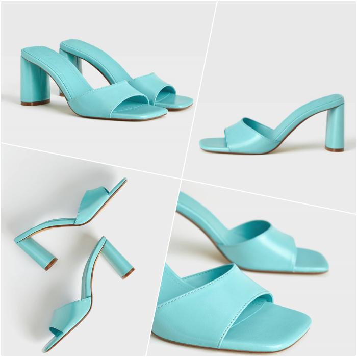 sandalias de tacón color azul celeste brillante con punta cuadrada