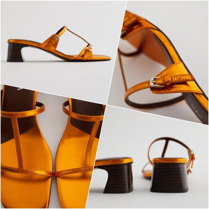 Litmus orange wooden heeled sandals
