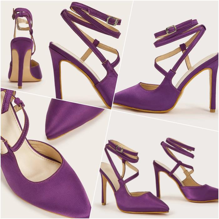 purple ankle strap pumps