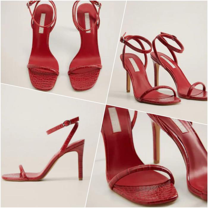 sandalias de tacón color rojo con punta cuadrada