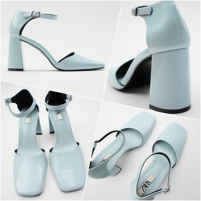 light blue square toe pumps