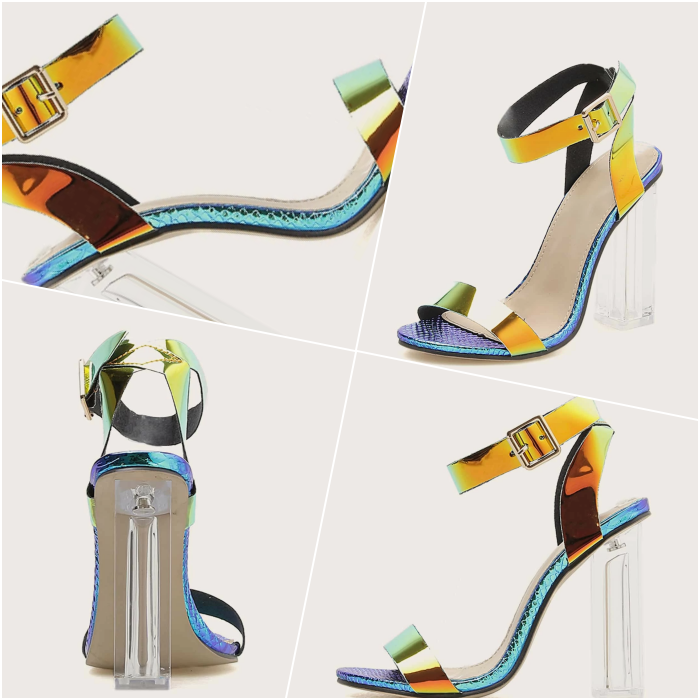 heeled sandals in iridescent color with transparent heel